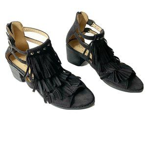 Coconuts by Matisse Black Fringe Sandals Size 6.5